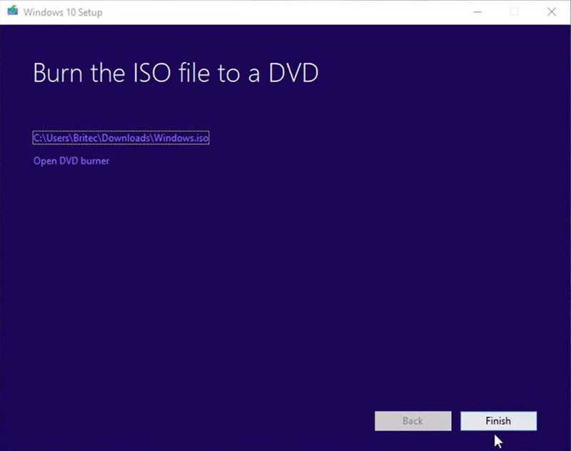 burn iso file in DVD