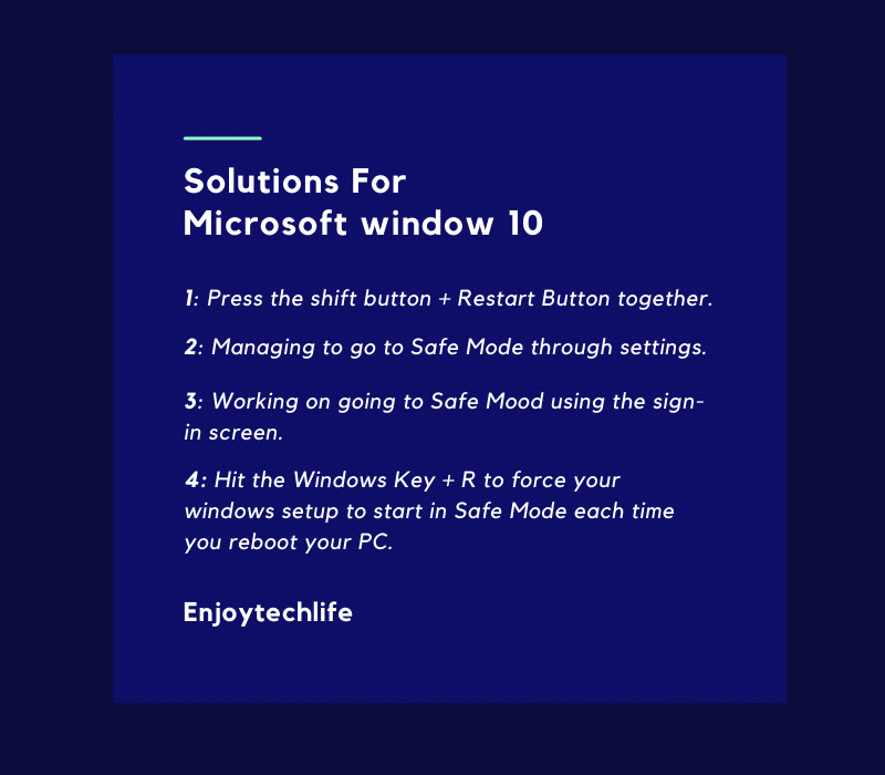 Solutions For Microsoft window 10