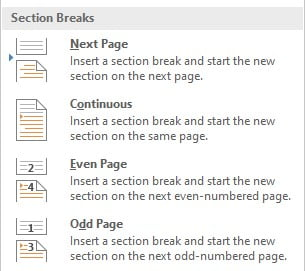 page section break