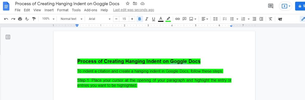 Process of Creating Hanging Indent on Goggle Docs