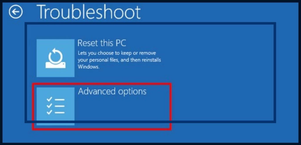 display once you select troubleshoot - Advance options