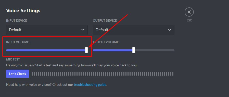 Input Volume for voice not working on Discord