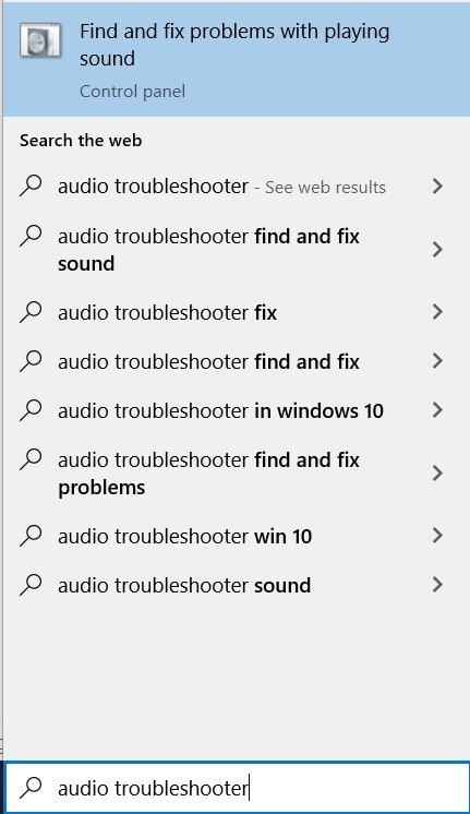 Running the Audio Troubleshooter