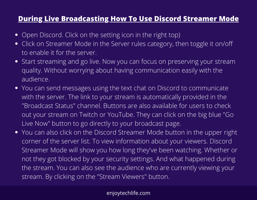 During Live Broadcasting How To Use Discord Streamer Mode