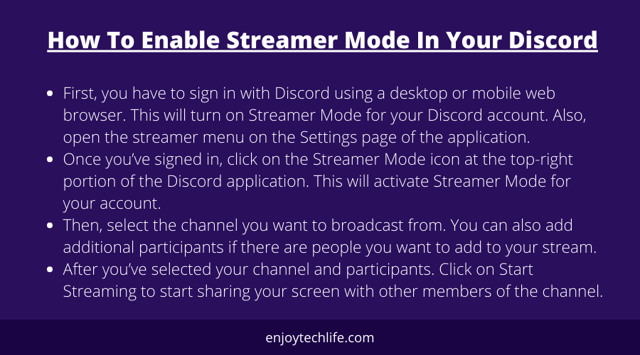 How To Enable Streamer Mode In Your Discord