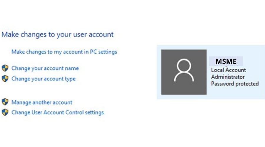 Make change to your user account