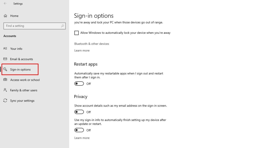 Sign-in settings